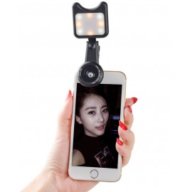 3 in 1 camera lens kit for smartphones with macro lens, wide angle lens and a LED light source