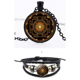 Sacred Buddhist brown Sri Yantra Mandela necklace + bracelet