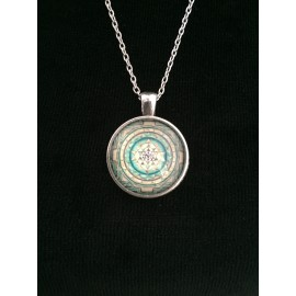 Buddhist Green Sacred Mandela Sri Yantra necklace