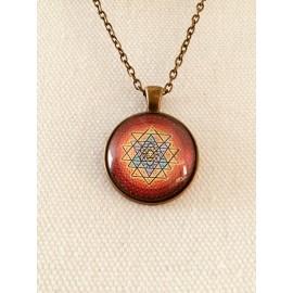 Heilige driehoekig Sri Yantra halsketting