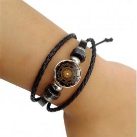 Heilige Buddhistische Bruine Sri Yantra Mandela armband