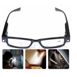 Multi-strength reading glasses with LED lighting