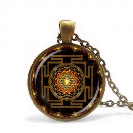 Sacred Buddhist Brown Sri Yantra Mandela necklace