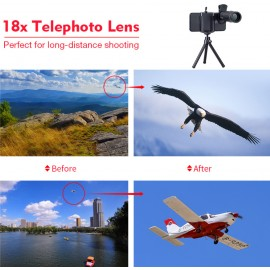 Telescope lens (18x optical zoom) + tripod for iPhone and Samsung mobile phones