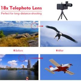 Telescooplens (18x optische zoom) + statief voor iPhone en Samsung mobiele telefoons